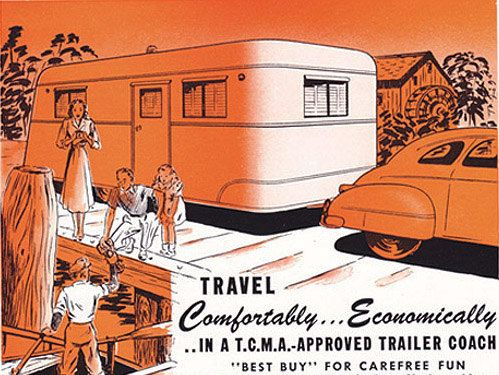 This is an actual page cut out from a vintage 1948 issue of National Geographic. Advertisement for the Trailer Coach Manufacturers Association, Chicago.