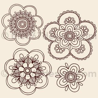 Henna Tattoo Paisley Doodle Flowers by blue67design by blue67design, via Flickr