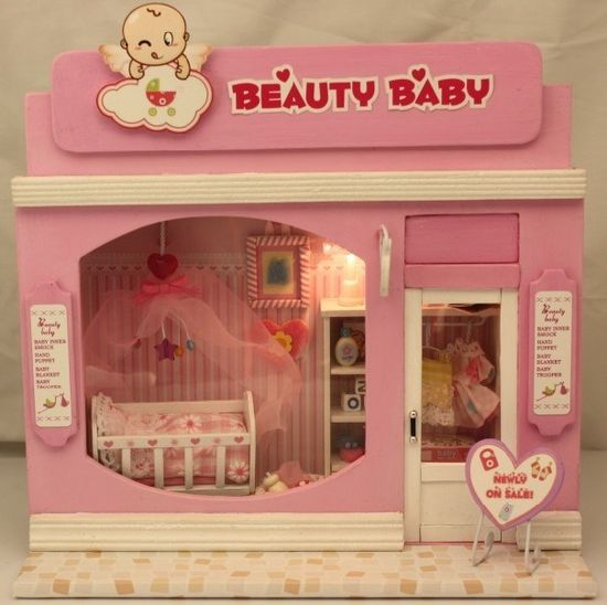 Dollhouse Miniature DIY Lovely Baby House Kits Wit Light