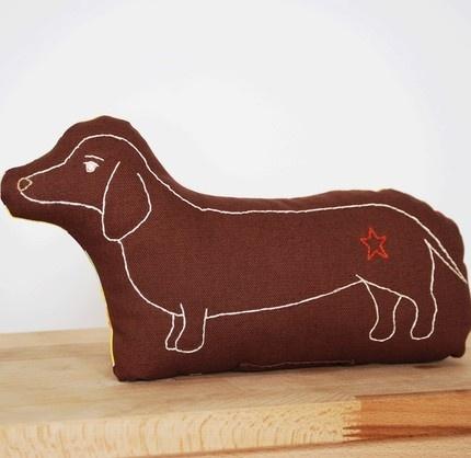 weiner dog pillow in brown
