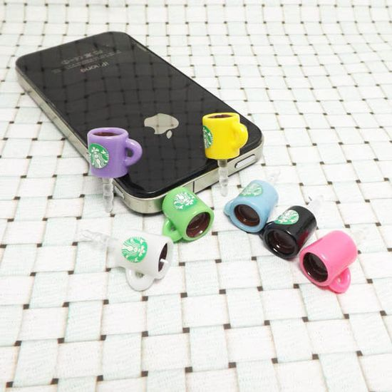 7 Colors Cute Starbucks Coffee Mark Cup Dust Plug 3.5mm Smart Phone Dust Stopper Earphone Cap Headphone Jack Charm iPhone 4 4S 5 HTC Samsung on Etsy, $2.95