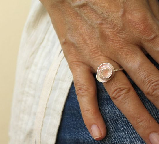 Powder Pink Enamel Handmade Rose Ring