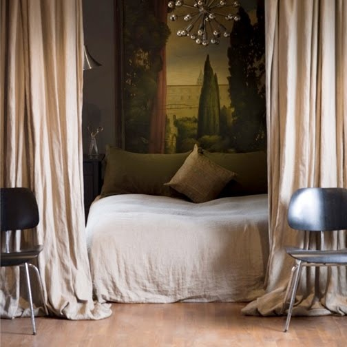 #bedroom chic. curtains dividing room