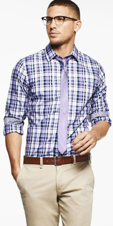 Purple plaid and tie.