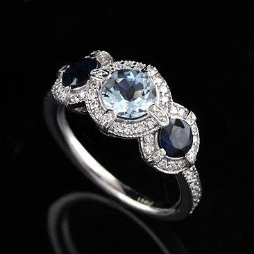 Diamond Aquamarine and Sapphire Engagement Ring 18K White Gold