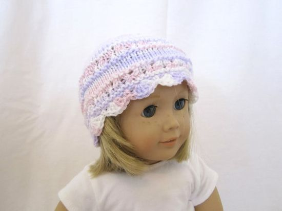American Girl Doll Hat Knit Pink Purple by PreciousBowtique, $4.00