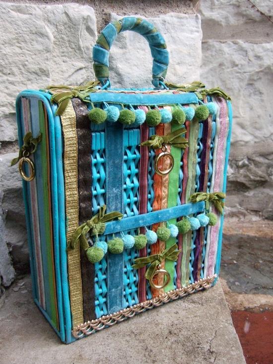 Wicker Velvet Trim Handbag by Soure