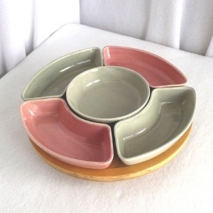 Lazy susan serving set 1950's Pink and Gray