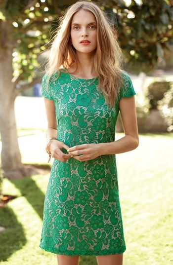 Wear a green lace dress to the garden party.