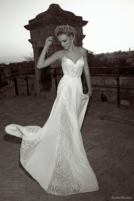 zoog studio bride 2013 wedding dress straps lace panel skirt