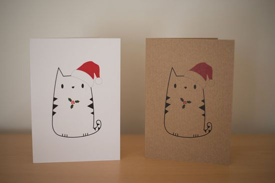 Cute cat holly leaf print christmas greetings card // poussepoussecitron