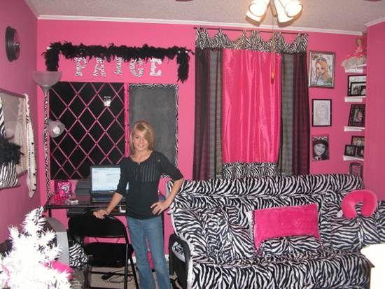 Pink Black Zebra Striped Bedroom Decor