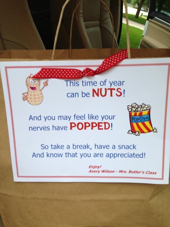 Teacher gift - flavored popcorn & peanuts.