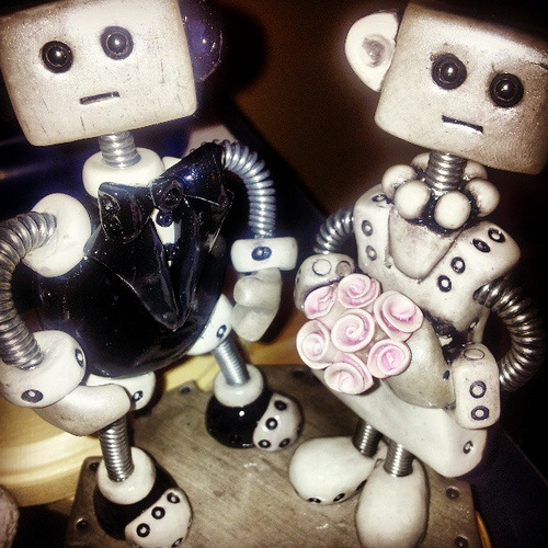 Work-in-progress: Made a different kind of wedding cake topper. Darker Gothic Robots. Thoughts?