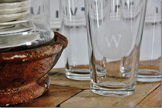 Set of Etched Monogrammed Glasses - Five Handmade Gift Ideas