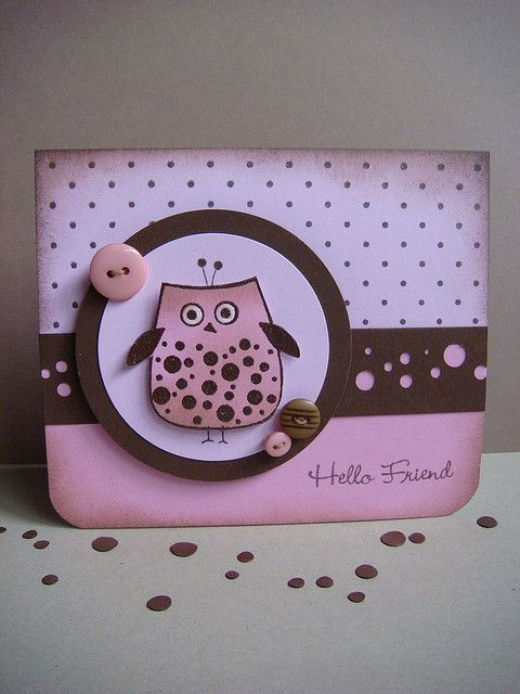 handmade card ... adorable owl image ... pink and brown card ... lots of dots ... great card! ... Hero Arts stamps