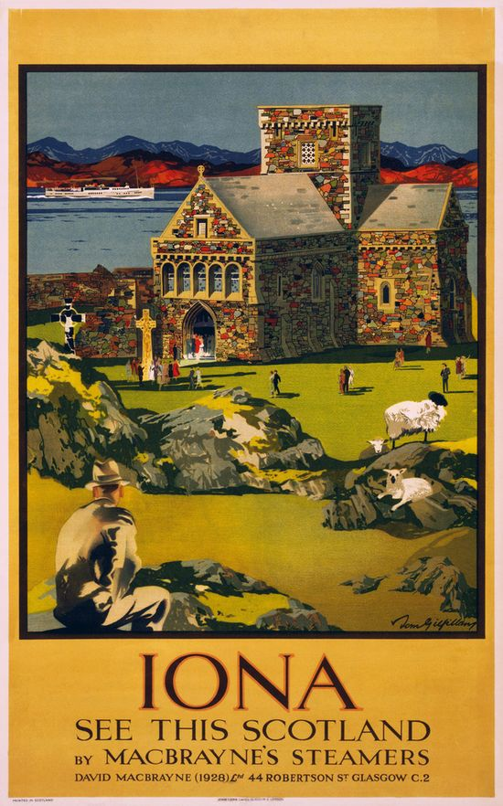 Iona, Scotland, travel poster, ca. 1930