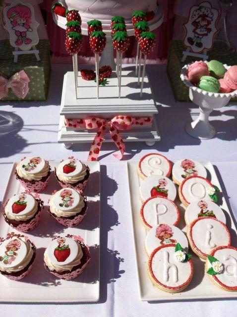 Treats at a Strawberry Shortcake Birthday Party