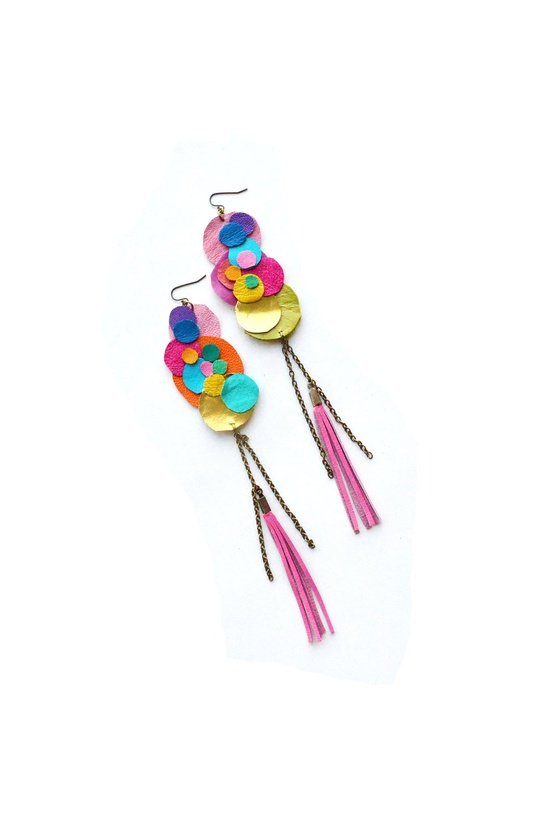 Neon Leather Earrings Geometric Rainbow Clouds. $36.00, via Etsy.