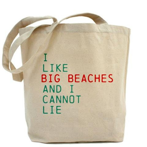 Beach Bag I Like Big Beaches And I Cannot by VintageBeachQuotes, $33.00