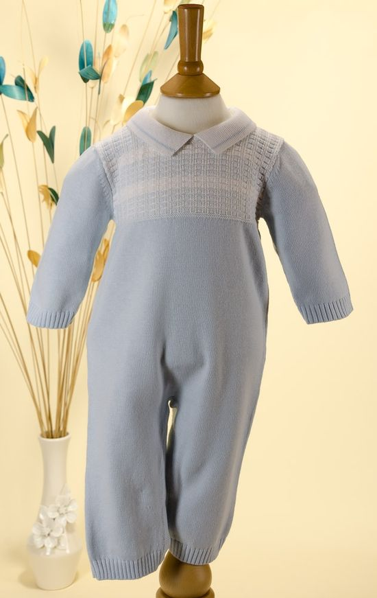 Kissy Kissy 'Checkerboard' Pale Blue/White Knitted Baby Boy Romper