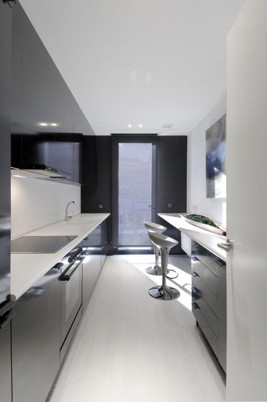 sweet black and white kitchen interior