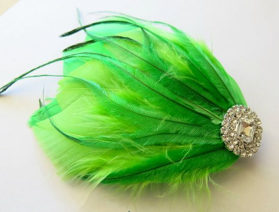 Bridal Wedding Great Gatsby Bridesmaid Feather by parfaitplumes, $24.00  #Weddings#Accessories#Hair#hairpiece#feather#headpiece#bridal#bridesmaid#peacock#fascinator#bridalhair#bridal#hairpiece#weddinghairpiece#hairaccessory#1920s#gatsby#lime#green
