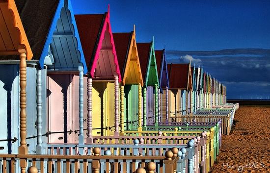 West Mersea beach huts , Essex