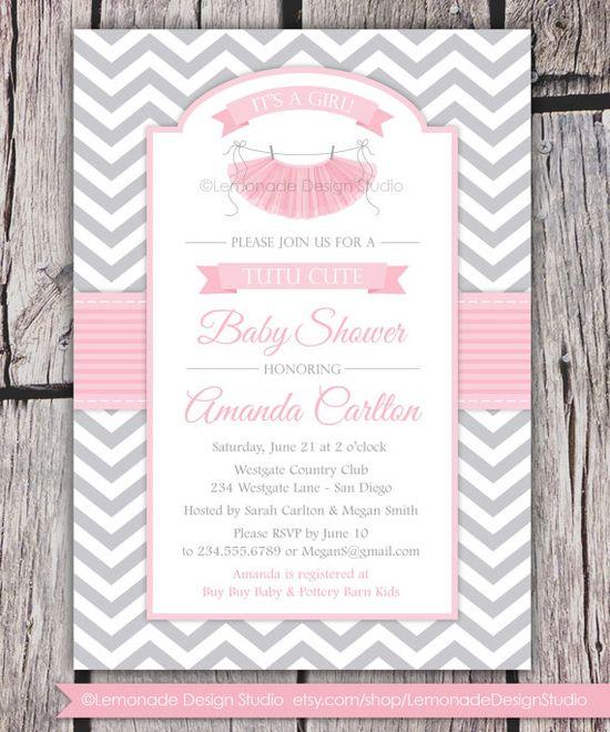 Tutu Cute Baby Shower Invitation  Chevron Pink Grey Baby Shower Girl Baby Shower