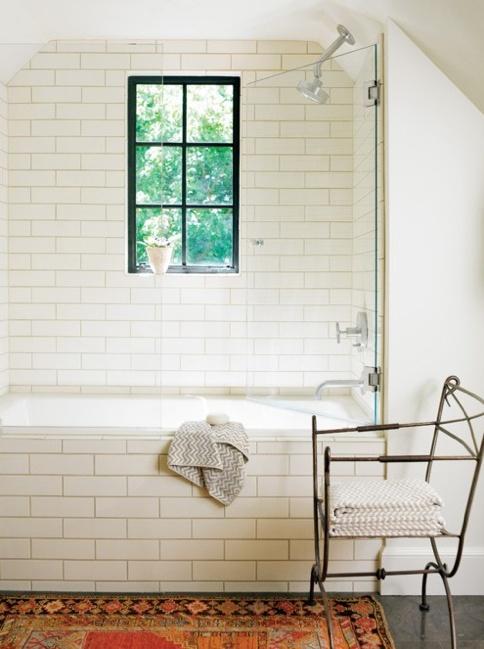 Black window sash, subway tile, dark floors (ours will be dark wood grain in black)