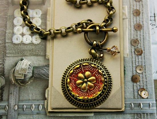Art Glass Necklace Intricately Carved Czech Glass by veryDonna, $72.00