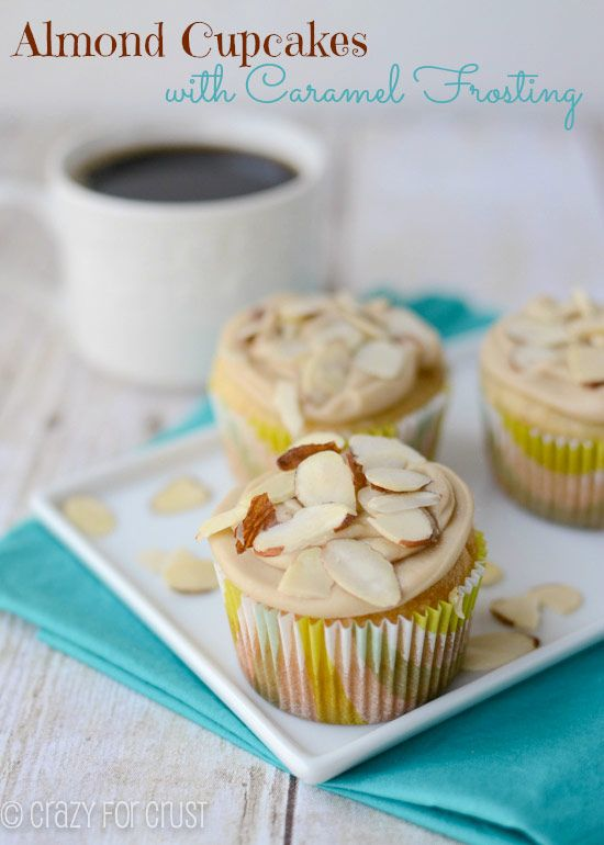 Almond Cupcakes topped with a caramel frosting that tastes like fudge! #cupcakerecipes