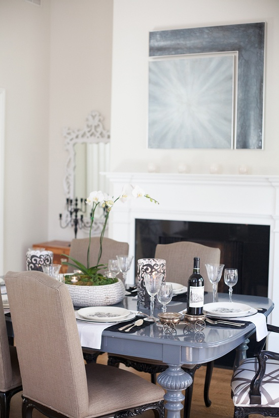 FRENCH/Rue mag: Very nice dining/living room; love the mix of furnishings (really like that table), the taupe-grey-white colors