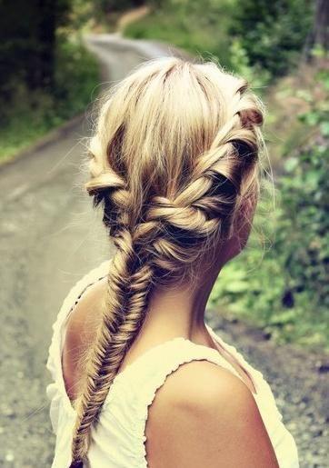 Pretty twisted fishtail braid.
