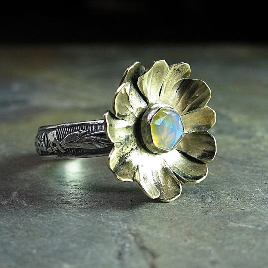 Opal ring sterling silver with brass flower  by LavenderCottage on Etsy