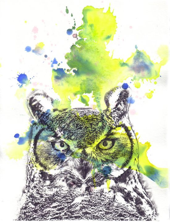 {Horned Owl} Original Watercolor Painting