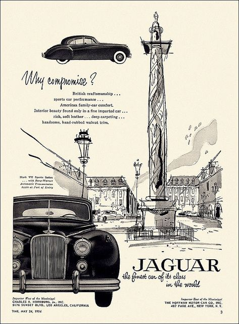 Jaguar Automobile Ad, 1954
