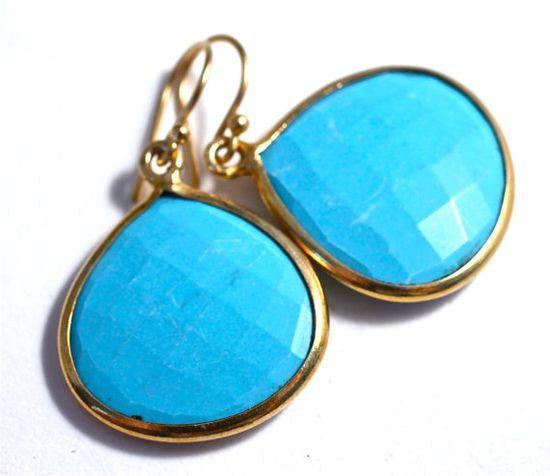 Turquoise Earring Large Gold Bezel Drop Earrings Best by amyfine