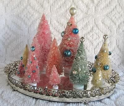 cute display of bottle brush Christmas trees ...