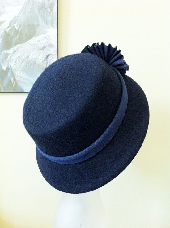 Lovely Vintage Style Cloche Dark Blue Hat for Women by chuchuny