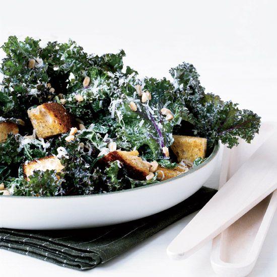 Kale Caesar with Rye Croutons and Farro // More Caesar Salads: www.foodandwine.c... #foodandwine
