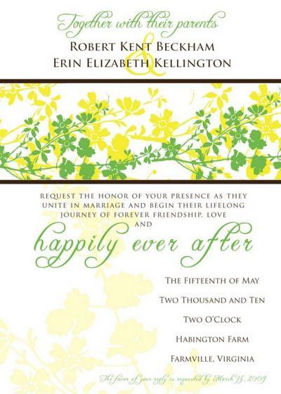 Lemon Lime Vines Wedding Invitation
