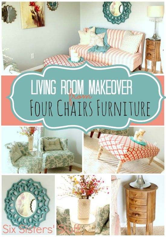 Living Room Makeover by Four Chairs Furniture at SixSistersStuff.com.  We love everything at 4-chairs.com! #home #decor #furniture