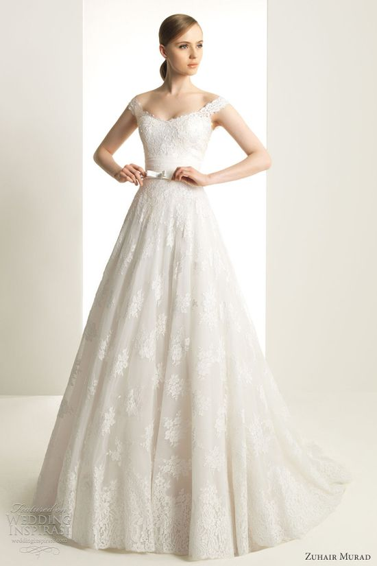 Muhair murad wedding dresses 2013  bridal gown off shoulder lace straps
