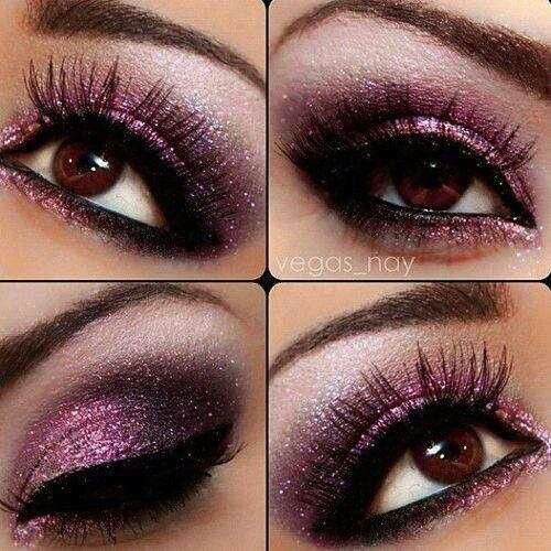 Purple black and glittery eye makeup