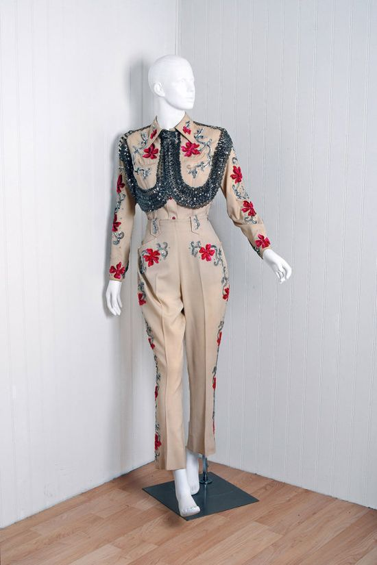 1940's Western Vaquero Fashions sequin and rhinestone wool gabadine shirt and pants suit