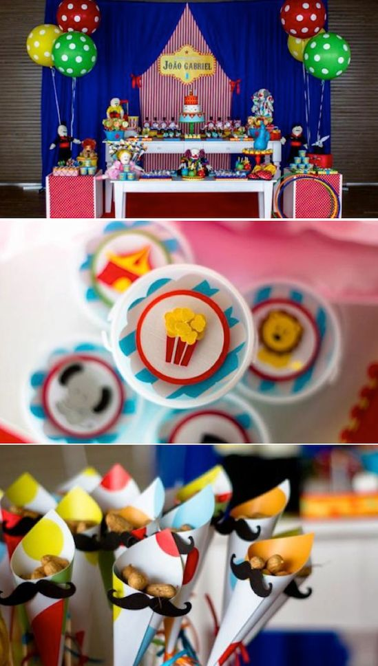 Circus themed birthday party with SO MANY CUTE IDEAS! Via Karas Party Ideas KarasPartyIdeas.com #circus #birthday #party #idea