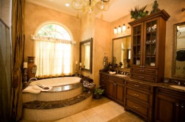 Deluxe Bathroom Interior with Relaxing Beautiful Bathtub
