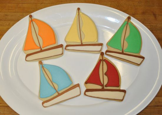Sailboat Hand Decorated Sugar Cookies