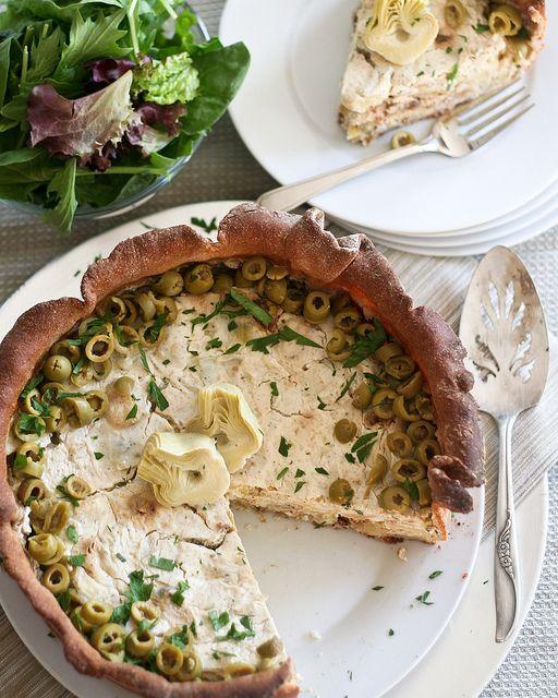 Artichoke and Green Olive Savory Cheesecake.